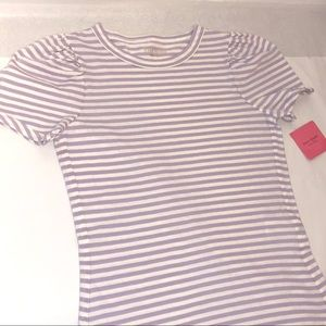 Stripe Puff Sleeve Tee NWT Kate Spade